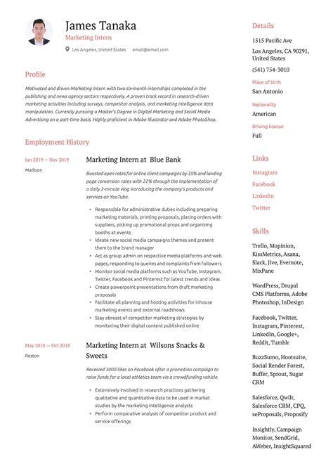 Marketing Internship Montreal Sample Internship Cv Internship Cv Formats Templates