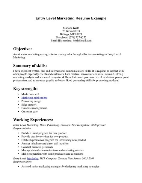 Marketing Resume Examples Entry Level Entry Level Resume Objective Examples