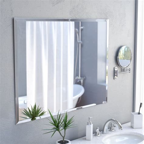 Marylee Rectangle Beveled Polish Frameless Wall Mirror with Hooks