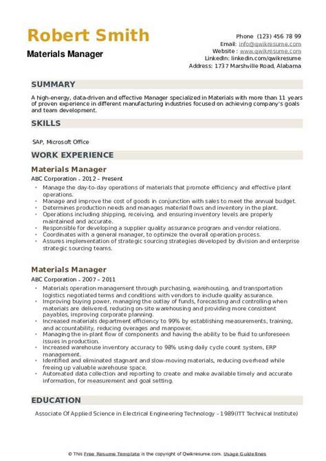 Resume Resume Examples For Material Manager material manager resume examples cover letter for teacher job materials sample livecareer