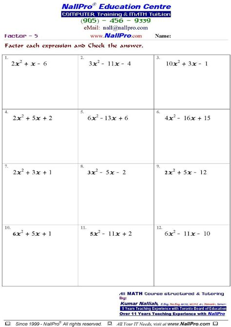 math worksheets grade 10 free