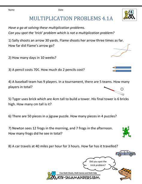math worksheets grade 4 word problems