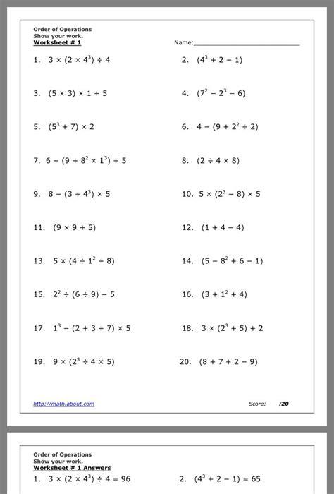 math worksheets grade 8 order of operations