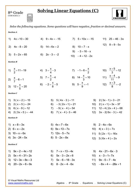 math worksheets grade 8 pdf