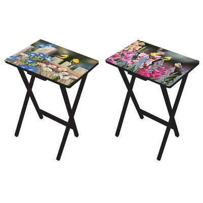 Mazie Birds and Flowers Tray Table Set (Set of 2)