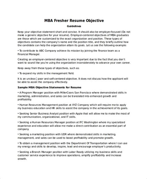 career objectives mba application mba resume objective statement