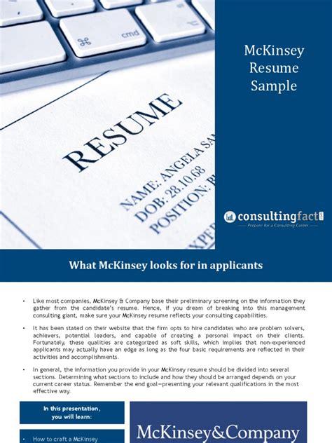 resume for mckinsey