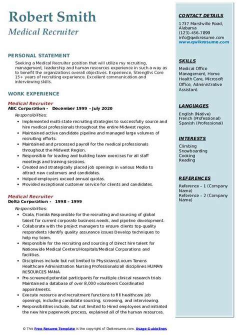 medical recruiter resume sample sample resumes hr recruiter or human resources recruiter