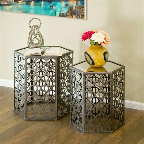 Melinda Metal Hexagon 2 Piece Nesting Table by