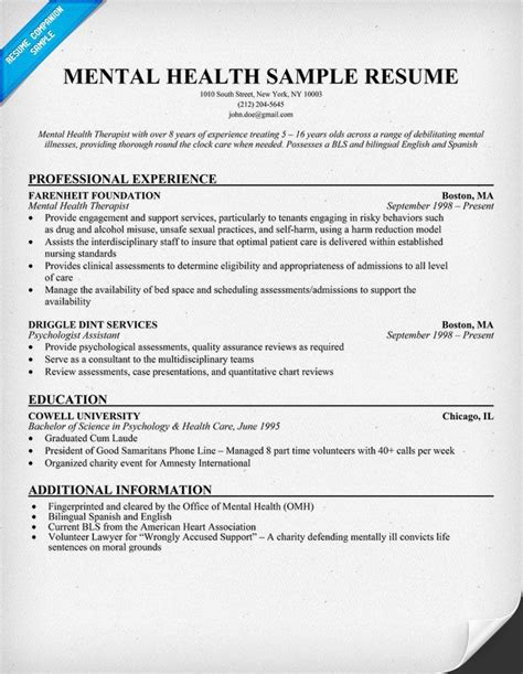 medical and health care services resume - Mental Health Worker Resume