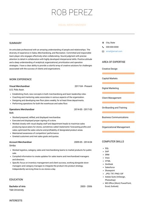 visual merchandiser. Resume Example. Resume CV Cover Letter
