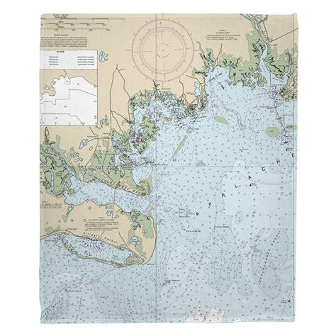 Meredith Fl Nautical Chart Fleece Blanke by