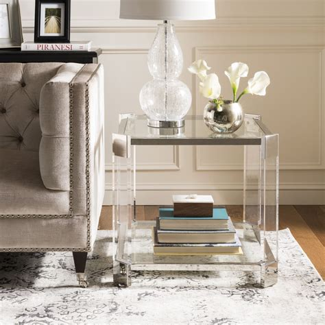 Metal Acrylic End Table