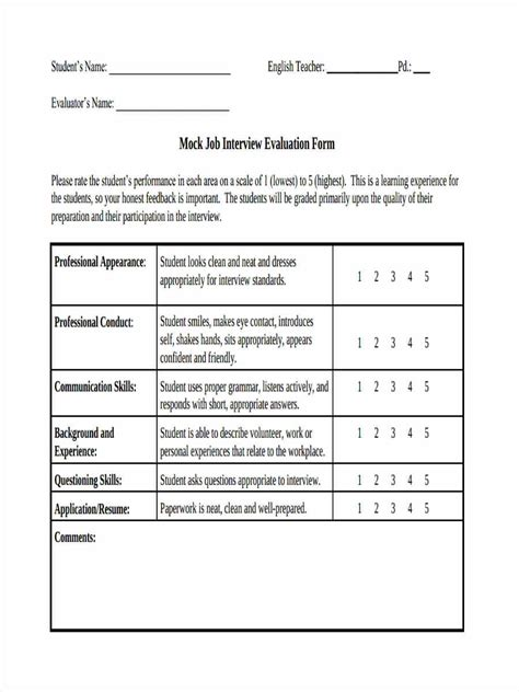 Mock Job Interview Evaluation Form Job Interview Job Interview Guide Interview