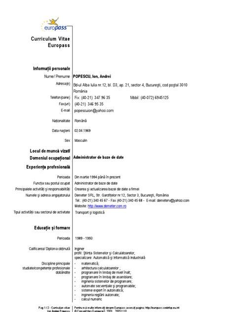 Cv Format Europass Engleza Resume Models Pdf Formats
