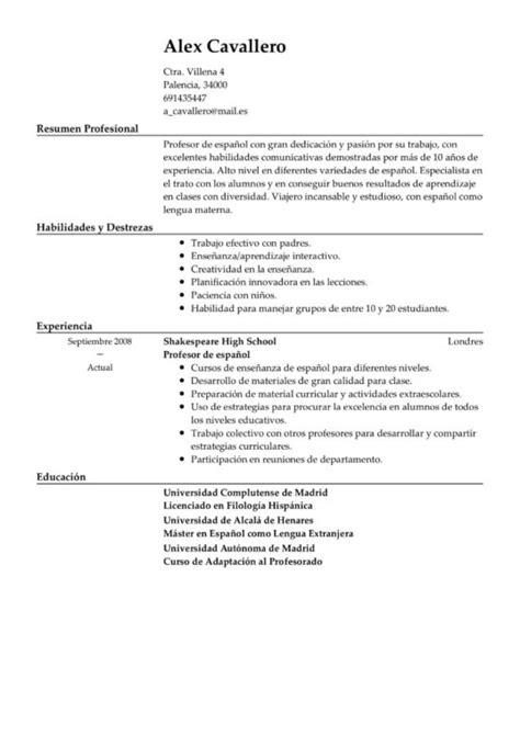 modelos de resume en usa el resume modelo curriculum