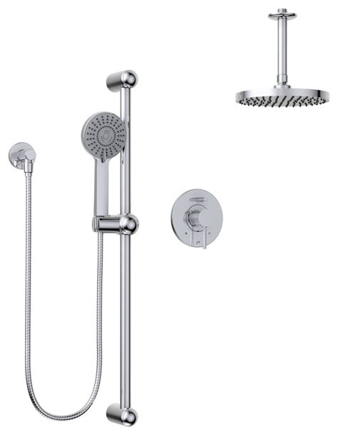 Modern Round Faucet Pressure Balanced Dual Function Shower Head Complete Shower System