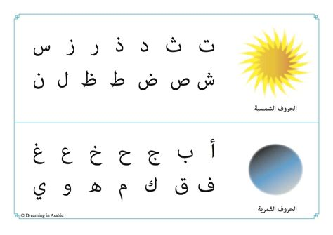 arbic letters moon and sun arabic letters