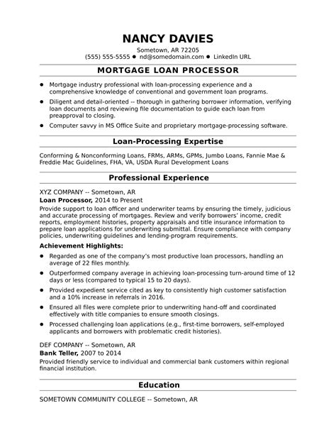great resume material processor mortgage loan processor resume sample monster