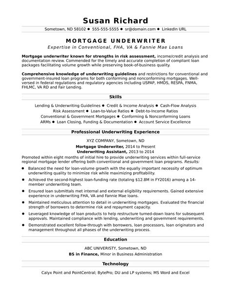 Junior Mortgage Underwriter Resume
