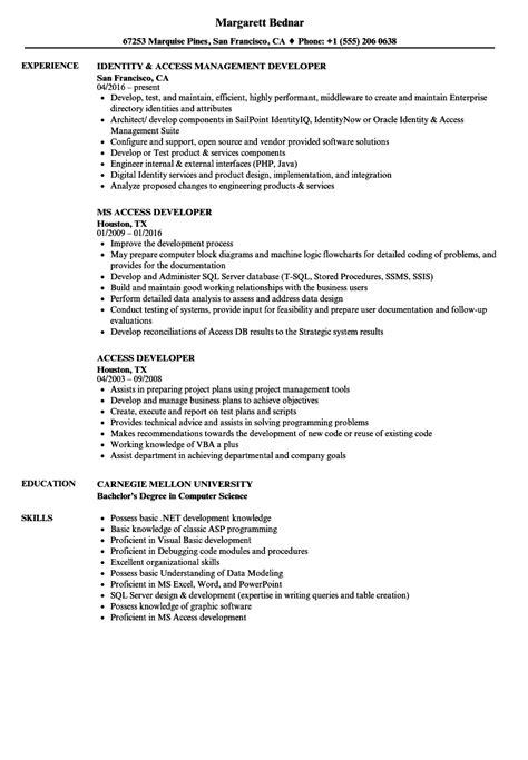 sample resume for access management ms access programmer resume sample best format - Sample Access Management Resume