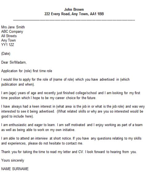 First Job Cover Letter Job Cover Letter Sample Pdf My First Job Sample Cover Letter Career Faqs