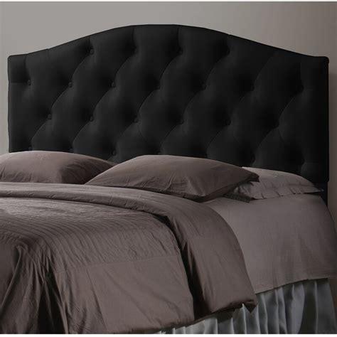 Myra Black Scalloped Full Upholstered Panel Headboard