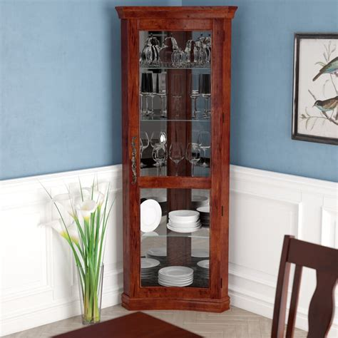 Nannie Lighted Corner Curio Cabinet