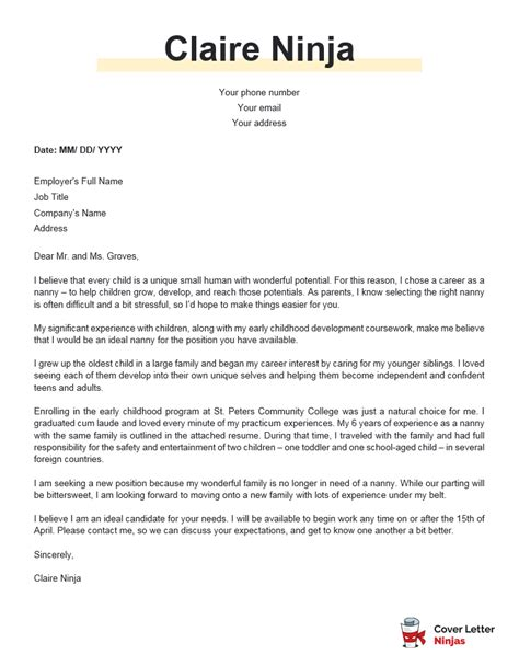 Nanny Cover Letter Example. Nanny Cover Letter Personal Care