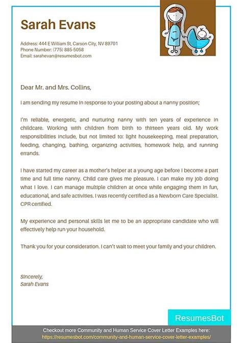 Perfect Cv Cover Letter Example - Cover letter for nanny