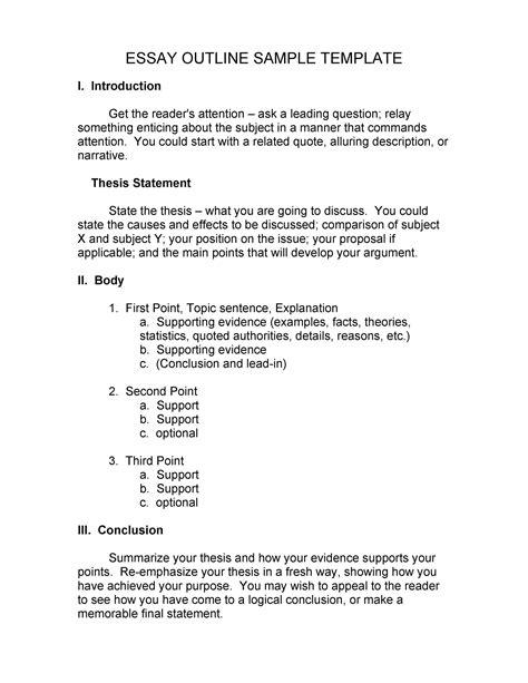 narrative essay outline format
