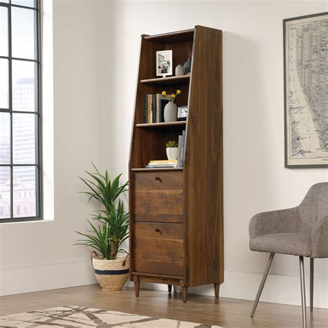 narrow bookcase with drawers
