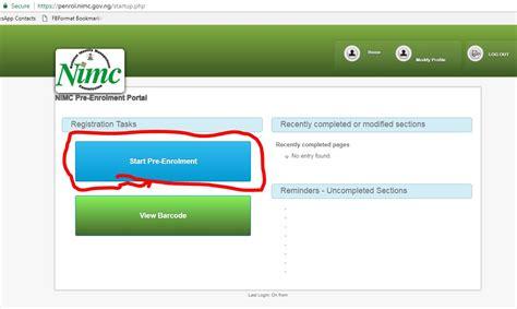 Credit Card Form Joomla National Id Card Nimc Pre Enrolment Registration Portal
