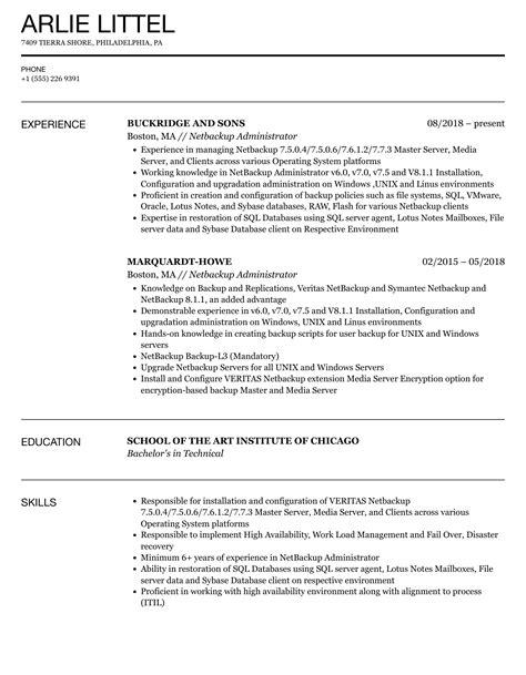 netbackup administrator resume resume templates netbackup administrator my perfect resume - Netbackup Administration Sample Resume