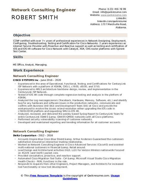 network consulting engineer resume sample network engineer resume example