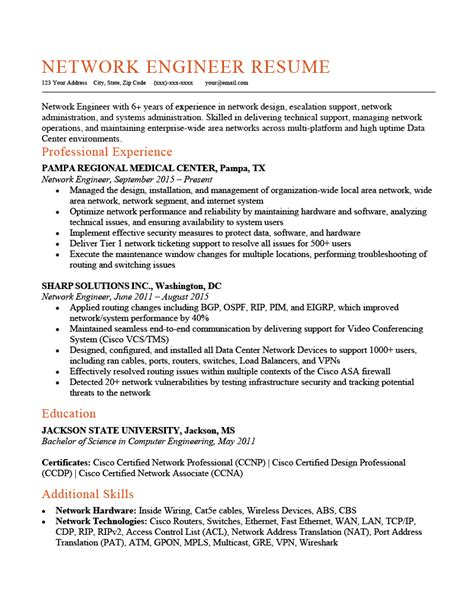 sample resume for experienced network engineer 2 cisco network engineer resume samples examples - Cisco Network Engineer Sample Resume