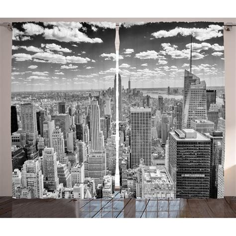 New York NYC over Manhattan from Top of Skyscrapers Urban Global Culture Artful City Panorama Graphic Print & Text Semi-Sheer Rod Pocket Curtain Panels (Set of 2 by