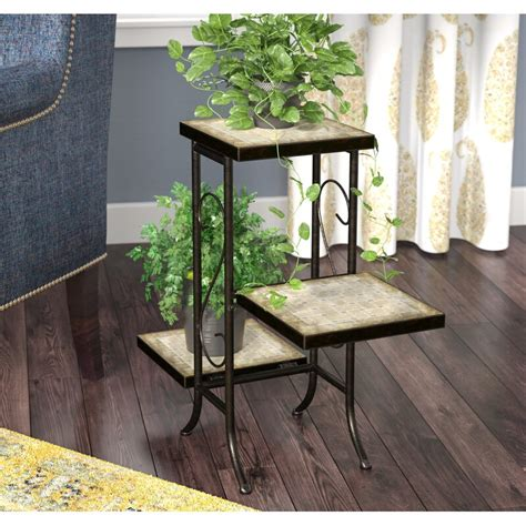 Noreen Multi-Tier Plant Stand with Travertine Top