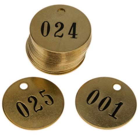 Brass Numbered Brass Key Tags.