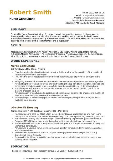 Nurse Consultant Resume Samples Nurse Consultant Resume Sample Free Resume Builder