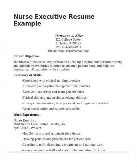 nurse executive resume how to make a resume objective