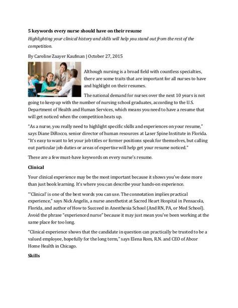 nurse resume key words