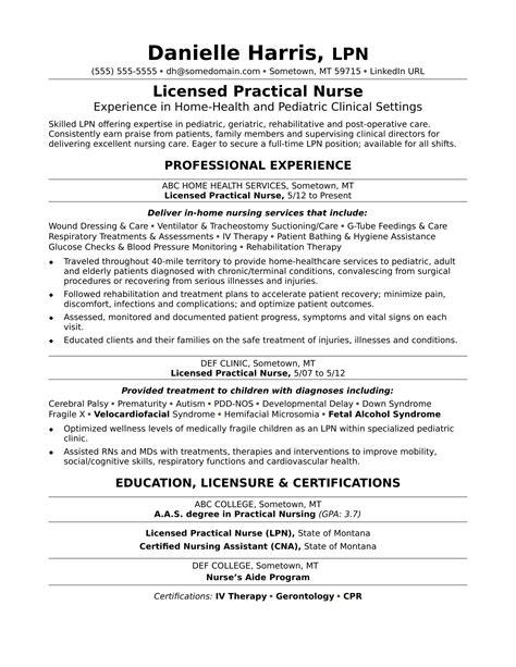 Nurse Resume Job Description Lpn Resume Sample Licensed Practical Nurse Resume Sample