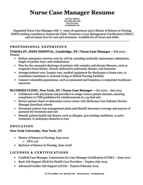 nurse resume for home health nurse case manager resume samples jobhero
