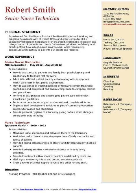 nurse tech resume sample how to make a high quality resume