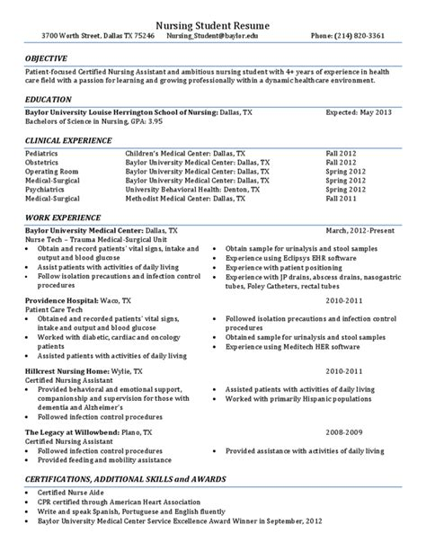 resume for nursing students