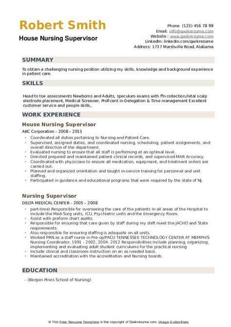 resume templates bar supervisor. nursing supervisor resume sample ...