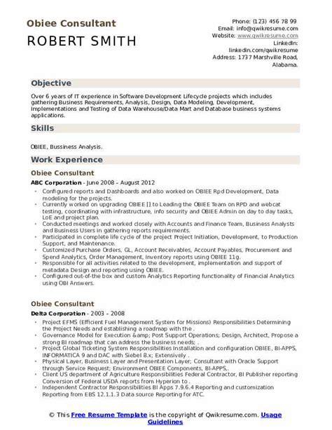 obiee sample resume test engineering manager sample resume test