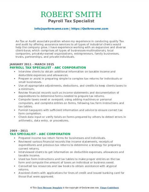 objective for payroll specialist resume tax specialist resume best sample resume
