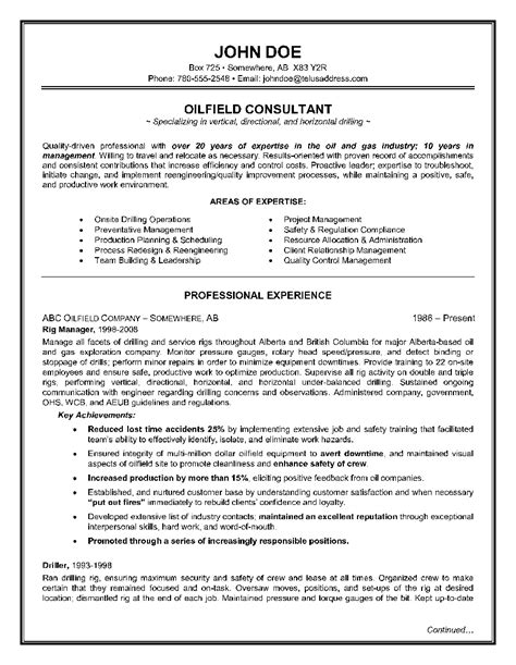 oilfield consultant resume examples good resume objective statement examples resume - Oil Field Resume Samples